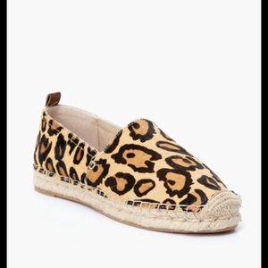 Soludos Calf Hair Leopard Print Espadrilles/ 8
